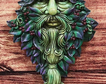 "Celtic Greenman Hanging Wall Decor Plaque 13"". Tree of Life Forest Shepherd Horned God Cernunnos"