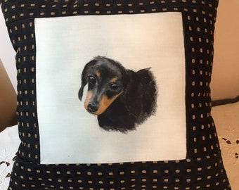 Dachshund Pillow  hand painted