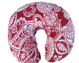 Oakworks AeroCel Style Fleece Massage Face Pad Cover  -  Red and Ivory Paisley Print