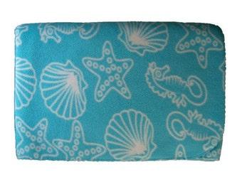Aqua Sea Shell Print Massage Table Blanket