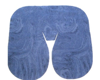 Seamless Marble Swirl Plush Fleece Massage Face Pad Drape - Navy