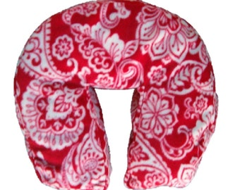 """Boiance Massage Face Cradle Cover - """"Seamless"""" Boiance Style Fleece  -  Red Paisley Print"""