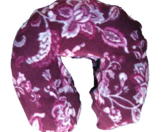 """Boiance Massage Face Cradle Cover - """"Seamless"""" Boiance Style Fleece  -  Burgundy Floral Print"""