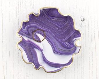 Purple Marbled Trinket Dish, Handmade Ring Dish, Geode Effect Jewellery Dish, Jewellery Storage Gift, Ring Holder, Boho Ring Dish