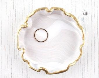 Ivory Marbled Trinket Dish, Handmade Ring Dish, Geode Effect Jewellery Dish, Jewellery Storage Gift, Ring Holder, Boho Ring Dish