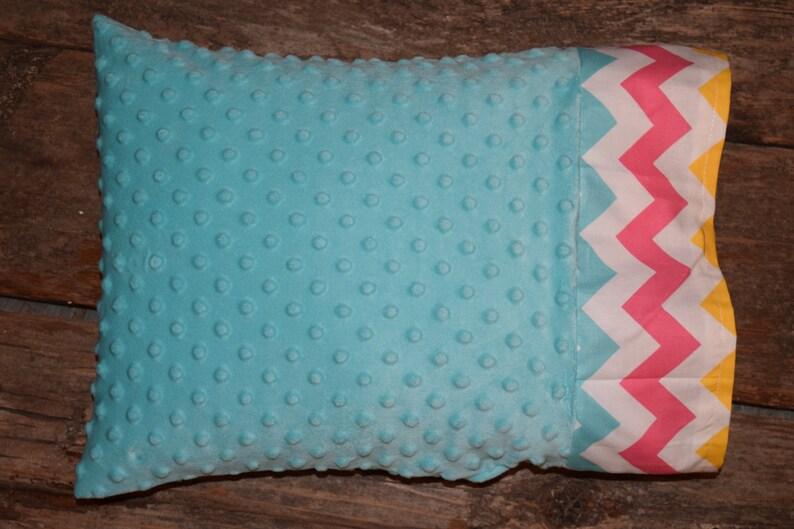Teal MinkyMinkee with Chevron Trim Nap TimeTravel Pillowcase Mini Pillowcase Toddler Pillowcase Pillowcase