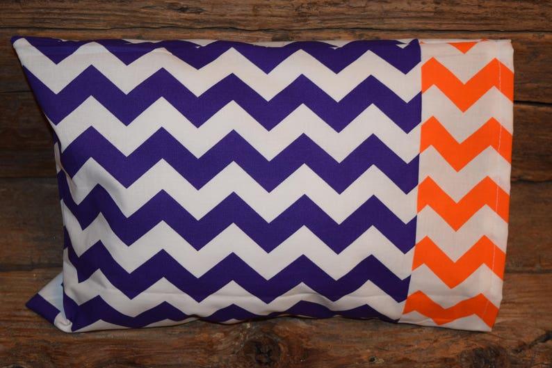 Purple Chevron with Orange Chevron Trim Nap TimeTravel Pillowcase Pillowcase Toddler Pillowcase Mini Pillowcase Fits a 14x20 Pillow Form