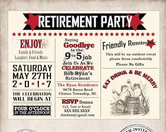 Retirement Party Invitation, Retirement Invite, Eat Drink & Be Merry