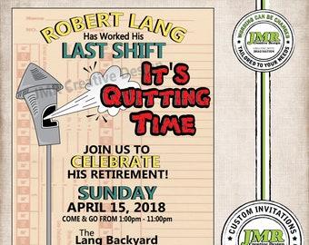 Retirement Invitation, Factory Retirement Invite, It's Quitting Time