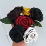 Leather Roses Single Stem Assorted Colors Wedding Floral Arrangements Renn Faire Handmade Valetines Day Anniversary Gift