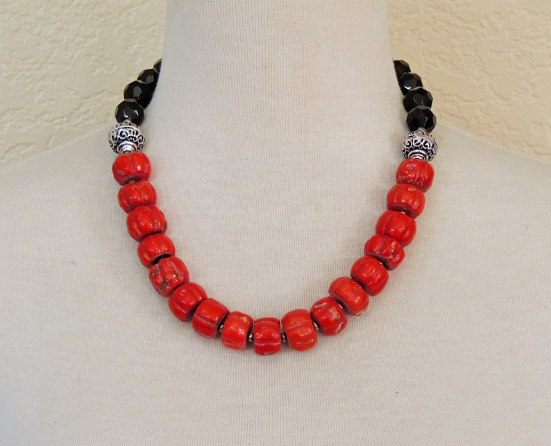 Christmas African Wedding Statement Necklace Chunky Gift Black Jet Glass Bali Style Silver Genuine Red Coral Black Necklace Bold