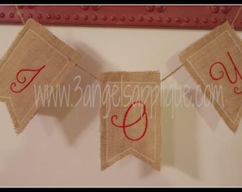 Hadley Burlap Pennant Alpahbet Banner ITH design 2 sizes INSTANT DOWNLOAD