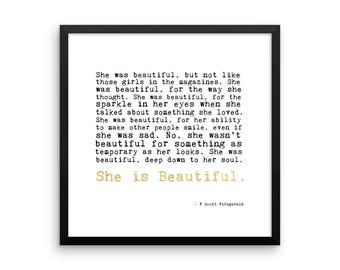 """She is beautiful"""" F. Scott Fitzgerald quote printable"""