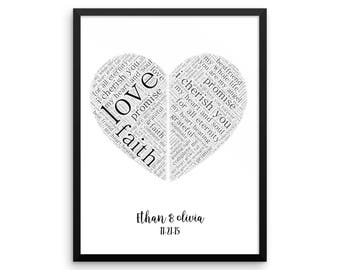 Custom Typography Vow Art | First Anniversary gift