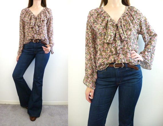 VTG 70s 80s Chiffon Blouse Lace Up Top Deep V Ruffle Size S  cce1049d3