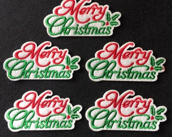 Merry Christmas With Snowflake Crystal Christmas Festive iron on applique
