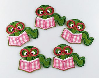 2 Adorable Bookworm Book Worm Glasses Pink Green Iron-On Sew-On Patch 2.25 L x 2.75 W Same Day SHIPPING Before 12pm EST Free Shipping