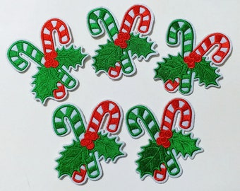 Engraved personalised colourful red green candy cane charm keyring gift LT22