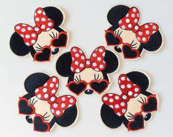 627a9263ea6 7.8x6cm 10pcs Minnie Mouse Red Heart Cool Sunglasses Iron On Embroidered  Patches Appliques Machine Embroidery Needlecraft Birthday DIY