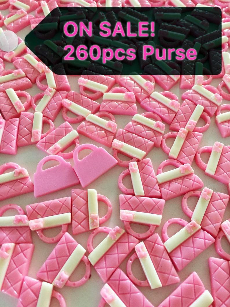 ON SALE 260pcs pink Purse handbag bag Resin Cabochon Flatbacks Flat Back Scrapbooking Hair Bow Center Frame Crafts Making