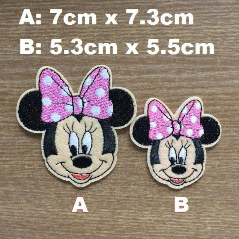 "Iron on patches MINNIE MOUSE XL /""MINNIE STANDING/"" Applicati pink 20x14cm"