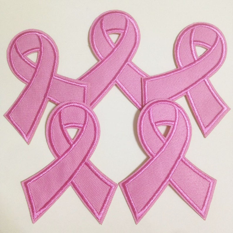 "PINK RIBBON IRON ON PATCH 3/"" Breast Cancer Awareness Sew Embroidered Applique"