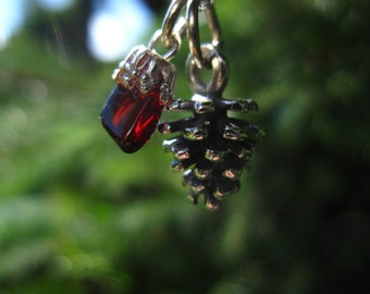 """Small Pine Cone Necklace with Adirondack Garnet: small, sterling silver pine cone charm with tumbled garnet on 18"""" chain"""