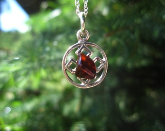 """Adirondack Garnet Celtic Knot Necklace: sterling silver with tumbled garnet on 18"""" chain"""