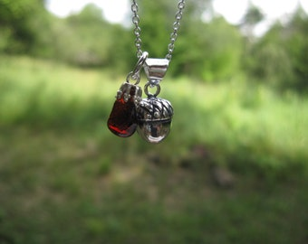 """Acorn Necklace with Adirondack Garnet: sterling silver acorn charm with tumbled garnet on 18"""" chain"""
