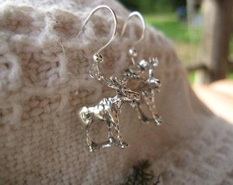 Moose Earrings: sterling silver moose charms on fish hook wires