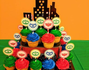 PJ Masks Style Cupcake Or Cake Toppers WITH STAND Catboy Owlette Gekko Logo Styles