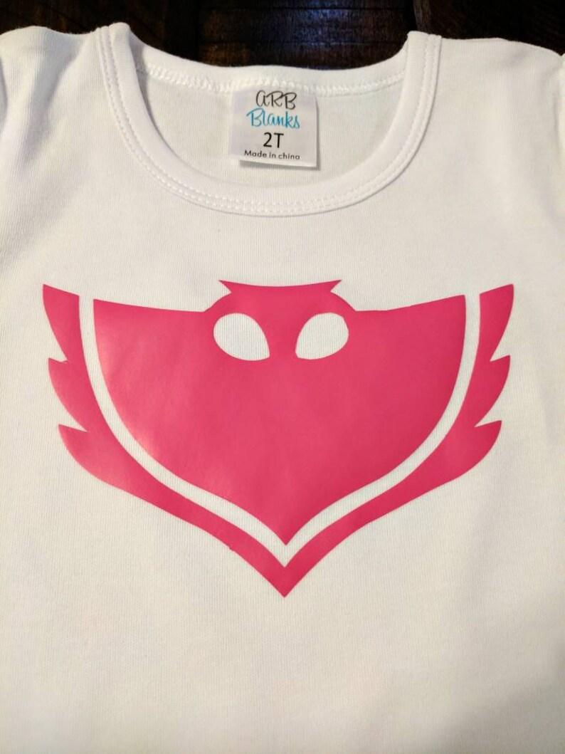 PJ Masks Owlette T-shirt Halloween costume red owl hero Shirts KidsAdult size