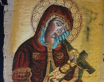 Vintage Hand Painted Very Old Egyptian Papyrus,The Blessed Virgin Mary Queen of Heaven,Holding Jesus.15 X 11 inch. 40 X 30 cm (Sale Price)