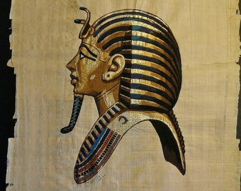 Vintage Hand Painted Egyptian Papyrus, The Gold Mask of King TUT, Gold Leaf, 17 X 13 inch, 42 x 33 cm