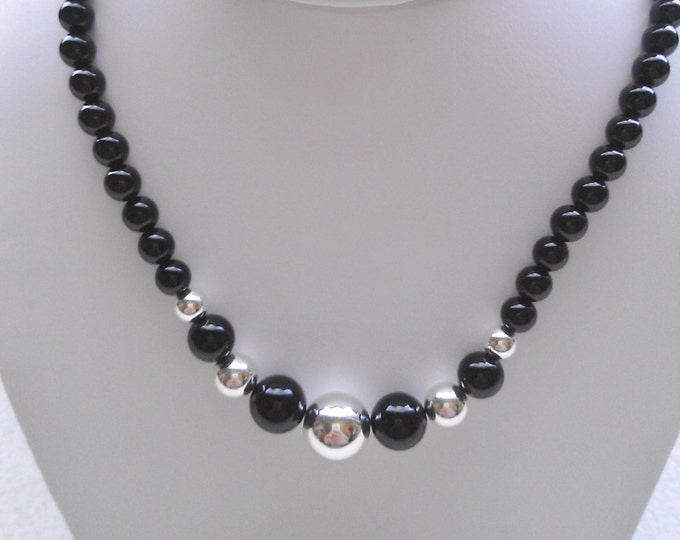 """Sterling Silver .925 and Black Onyx Beads Necklace, 8-10-12 mm Sterling Beads. 18"""" Long, Lobster Claw Clasp. Nice"""