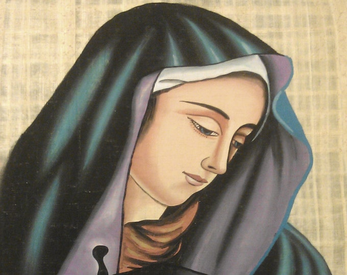 Vintage Hand Painted Egyptian Papyrus, The Blessed Virgin Mary, Queen of Heaven 17 X 13 inch