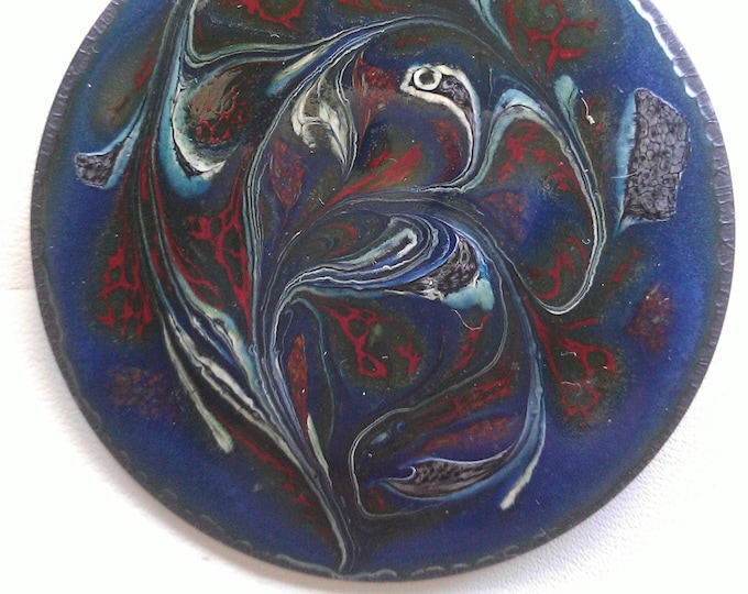 Vintage Designer Hand Painted Copper Pin/Brooch By Carslaw Studio - Canada. Free Demostic Shipping