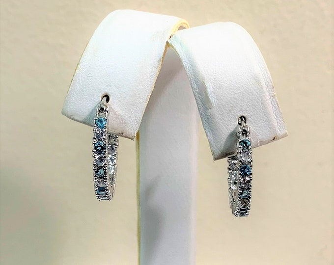 "Sterling Colorstone Hoops, Sky Blue and White Faceted Brilliant CZ, 24 mm - 1"", Simply Elegant"