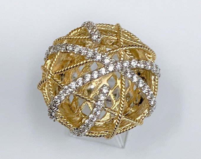 Sterling Silver Hand Made Large Statement Ring, Gold Accents, Rhodium, Round Full Cut White CZ, Super Nice