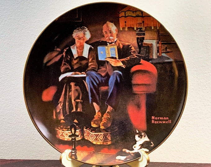"""Norman Rockwell """"Evening's Ease"""" Limited edition Collectible Plate, Original Box and Certificate, 8 1/2"""" – 1"""" Deep, Stand Included"""