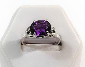 Deep Royal Purple Amethyst Ring,  Oval Cut 2.32 Carats, 10.20 X 8.10 mm, , Sterling Silver Designer Setting, Size 7 1/2 Adjustable.