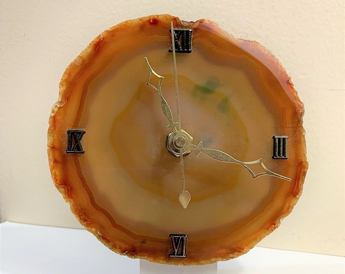 "Vintage Golden Lace Agate Gemstone Clock, Natural  Polished Colorful Fossil - 4"" Diameter, Quartz Movement, Works Nicely, Brazil"