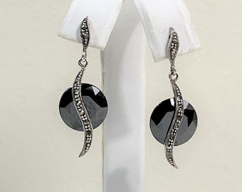"""Sterling Dangle Earrings, Faceted Jet Diamond Shape and Marcasite, 1 1/2"""" Long, Simply Beautiful"""