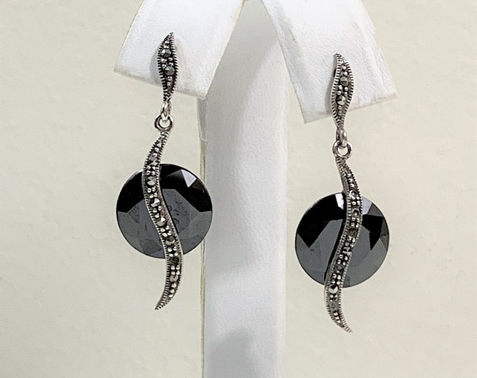 "Sterling Dangle Earrings, Faceted Jet Diamond Shape and Marcasite, 1 1/2"" Long, Simply Beautiful"