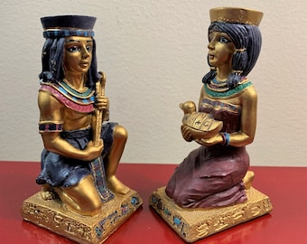 """Vintage 2 Egyptian Figurines, Resin, Hand Made & Painted """"Artist's Version"""", 4 1/4"""" Tall - 2"""" Wide, Excellent Condition. Free US Shipping."""
