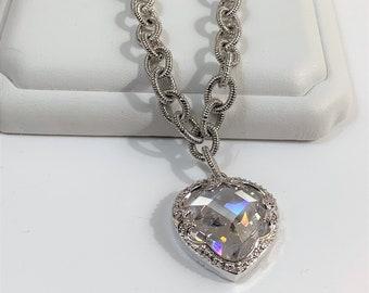 "Sterling Silver Single Large Heart Charm Bracelet, Faceted Austrian Crystal Heart 22 mm Set in Ornate Bezel, 7 1/2"" Long,"