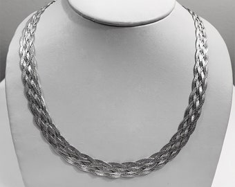 """Vintage Sterling Silver .925 SU Italy Braided Woven Necklace, 18"""" Long -  10mm wide, 21.90 Grams."""