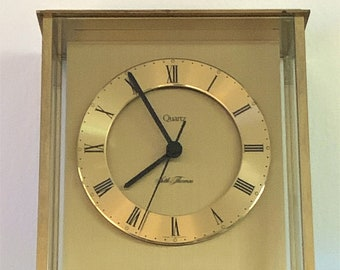Vintage Seth Thomas Dedication 0162-004 Solid Brass and Glass Windows, Quartz Movement, West Germany, Top Grade Condition, Free US Shipping