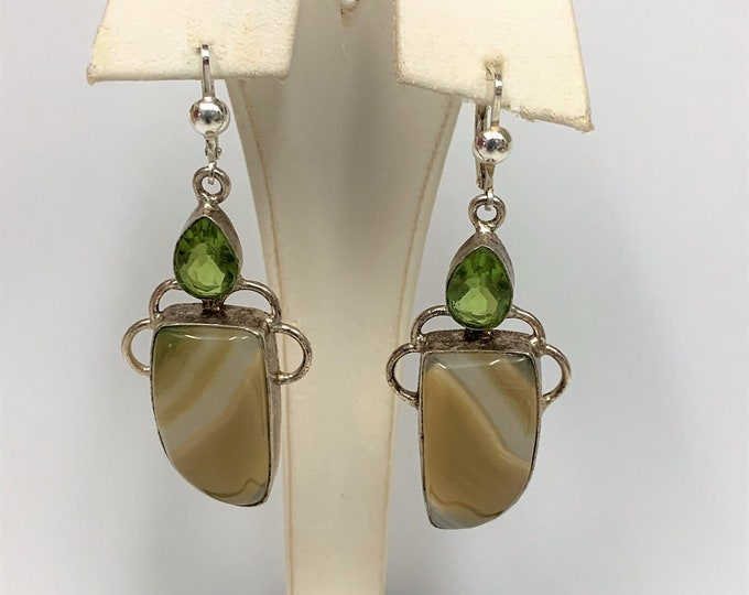 "Vintage Large Sterling Silver Green Peridot and Natural Lace Agate Gemstones Dangle Earrings, Lever Backs, 2 1/4"" long - 7/8"" wide. Unique"