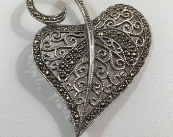 """Sterling Silver Large Victorian Brooch, Stunning Details, Sudded with Marcasite Stones, 2"""" - 5cm L - 1 1/2"""" W."""